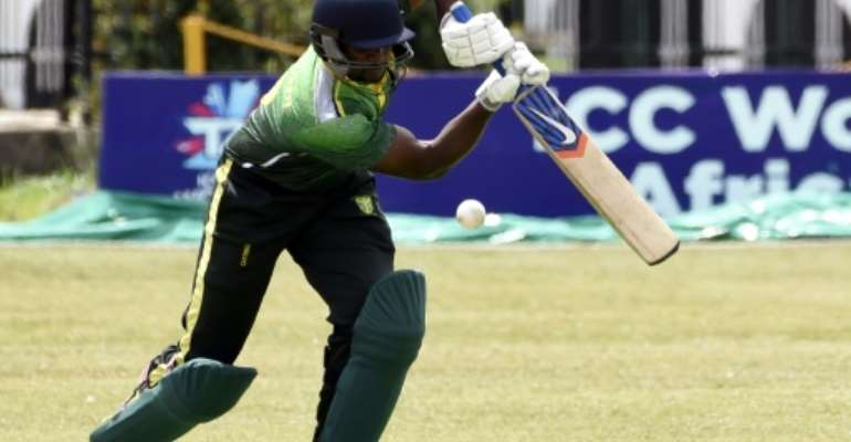 A Nigerian batsman in action against Ghana in an ICC World T20 African 'A' qualification match.  By PIUS UTOMI EKPEI (AFP)