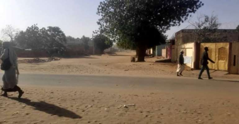 A picture taken on January 20, 2020 shows the area where violence erupted between Arab nomads and members of the non-Arab Massalit ethnic group in El Geneina, the capital of West Darfur.  By - (AFP)
