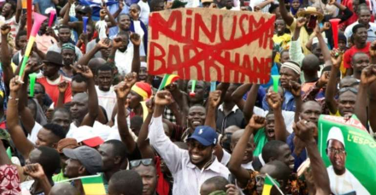 A placard in the crowd reflects opposition to the UN peacekeeping mission in Mali, MINUSMA, and France's anti-jihadist force, Barkhane.  By ANNIE RISEMBERG (AFP)