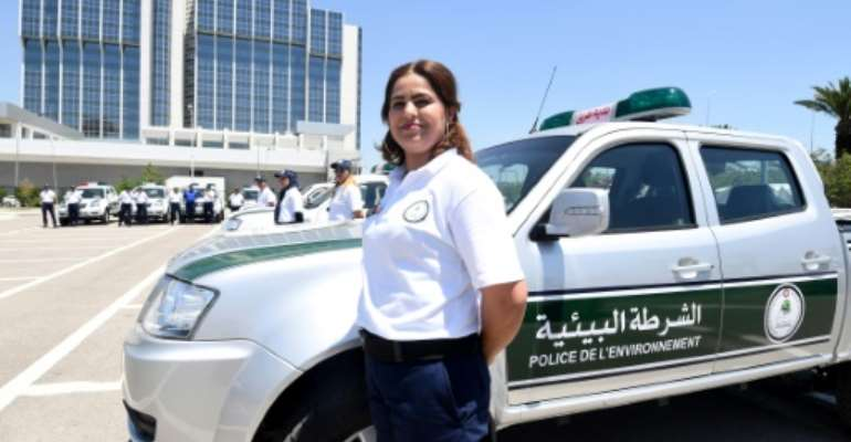 A policewoman at the launch on June 13, 2017 of an environmental police force in Tunisia.  By FETHI BELAID (AFP)