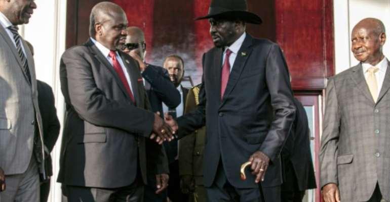 A power struggle between President Salva Kiir and Riek Machar, his former deputy, threw South Sudan into war in 2013.  By Michael O'HAGAN (AFP)