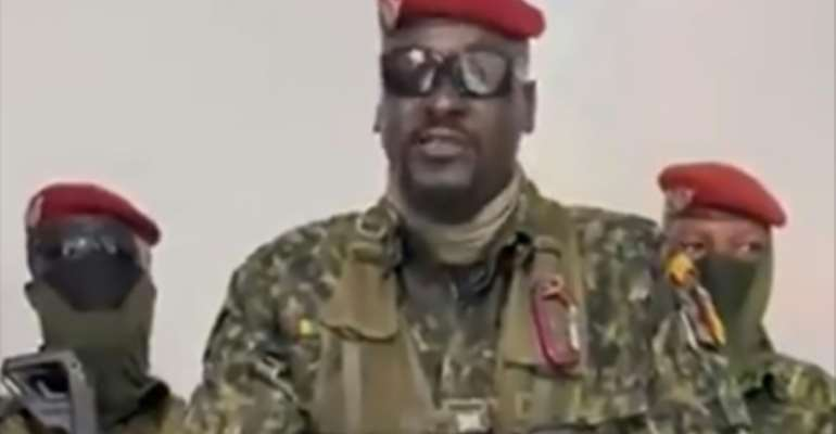 A screengrab shows Doumbouya speaking after the putsch.  By - (MILITARY SOURCE/AFP/File)