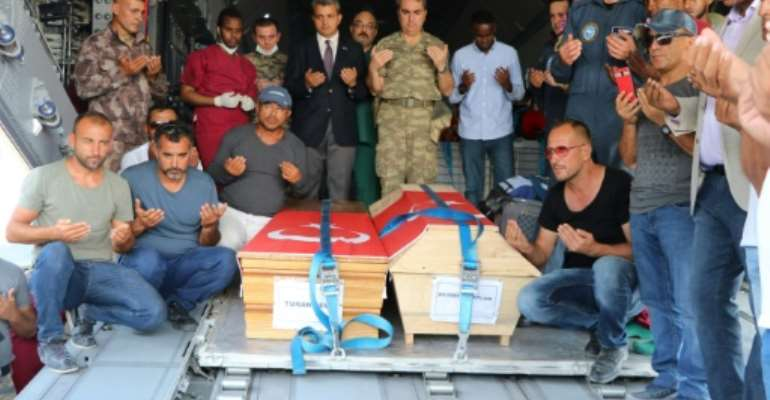 A Turkish military plane arrived on Sunday to evacuate Turkish nationals among the more than 200 casualties in the blast.  By Abdirazak Hussein FARAH (AFP)