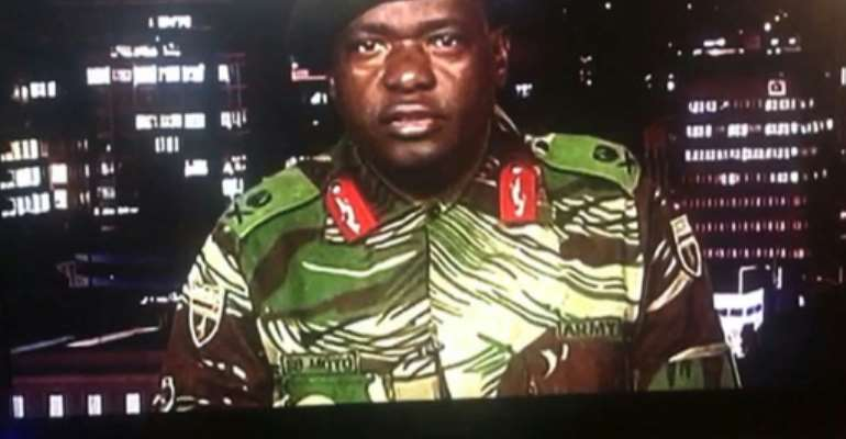 A video grab taken from a broadcast by Moyo, then a general, on November 15, 2017.  By Dewa MAVHINGA (ZBC/AFP)
