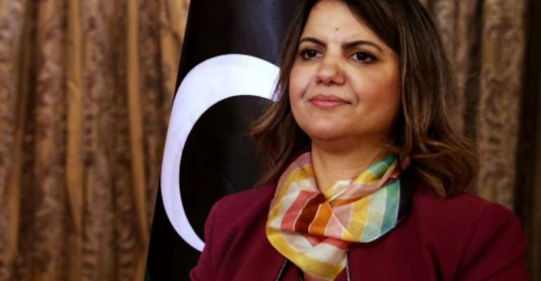 Activist and lawyer Najla al-Mangoush was named as Libya's Foreign Minister in the North African country's new transitional Government of National Unity.  By Mahmud TURKIA (AFP)