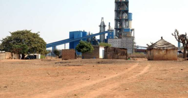 A Dangote Industries cement plant under construction in Pout, some 50 km from Dakar, on February 6, 2014.  By Seyllou (AFP)