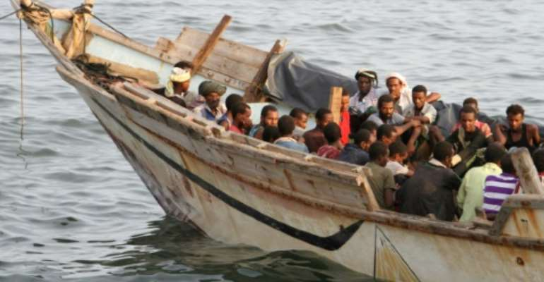 African illegal immigrants in Yemen's southern port city of Aden on September 26, 2016, before being deported to Somalia.  By SALEH AL-OBEIDI (AFP)