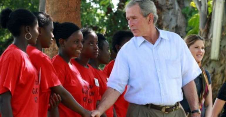 Former US president George W. Bush urged his country to continue supporting Africa as he arrived in Ethiopia.  By Thomas Nsama (AFP/File)