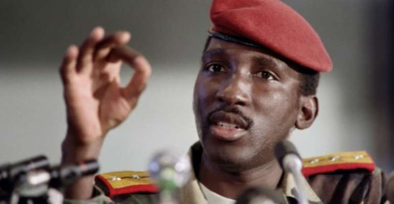 'Africa's Che Guevara': Burkina Faso president Thomas Sankara was only 37 when he was gunned down in 1987.  By DOMINIQUE FAGET (AFP/File)