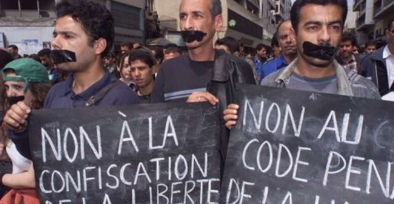 Algerian journalists protest.  By  (AFP/File)