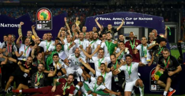 Algeria celebrated a first Africa Cup of Nations title since 1990.  By MOHAMED EL-SHAHED (AFP)