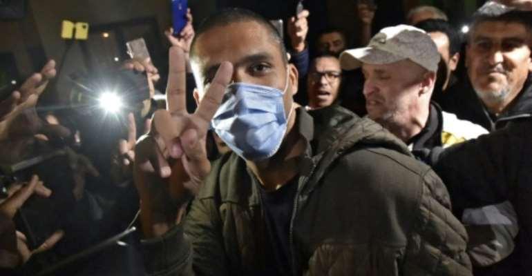 Algerian journalist Khaled Drareni was provisionally released from Kolea prison near the capital Algiers in February.  By RYAD KRAMDI (AFP)