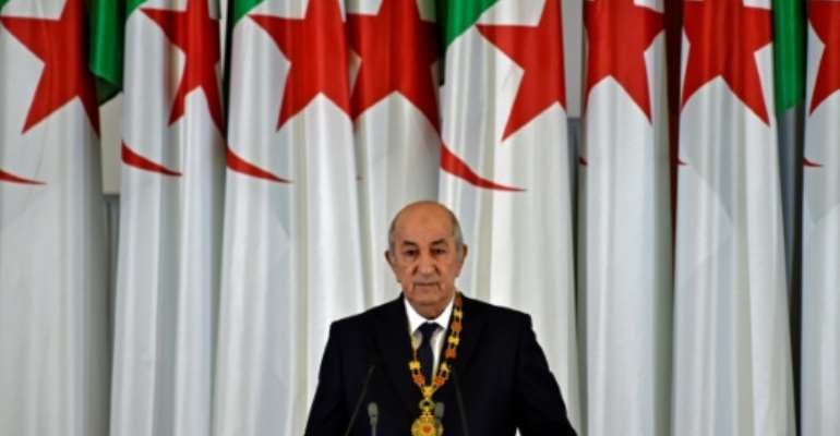 Algerian President Abdelmadjid Tebboune gives an address during the formal swearing-in ceremony in the capital Algiers on December 19, 2019.  By RYAD KRAMDI (AFP/File)