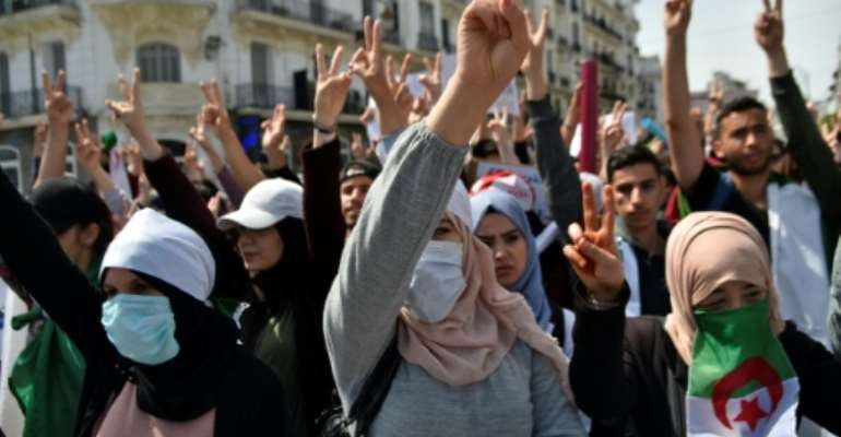 Algerian students protest against the
