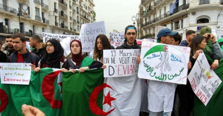 Algerians have been protesting since last month, calling on Bouteflika to quit.  By STRINGER (AFP)