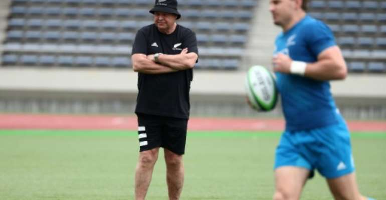 All Blacks coach Steve Hansen oversees a training session in Japan ahead of their opening match against South Africa on Saturday.  By Behrouz MEHRI (AFP)
