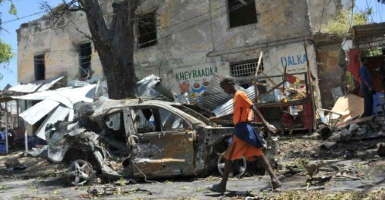 Al-Shabaab remains the key threat to peace in Somalia, carrying out attacks like this car bombing in Mogadishu on March 7, 2019, which left four people dead.  By Mohamed ABDIWAHAB (AFP/File)
