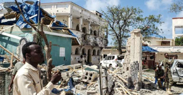 An attack on the Medina hotel in Kismayo, Somalia killed 26 people and wounded 56 others.  By - (AFP/File)