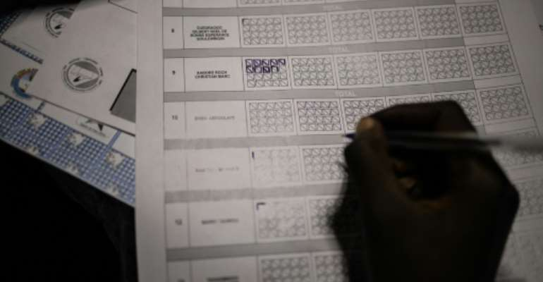 An electoral commission official counts votes during vote counting at a polling station during Burkina Faso's presidential and legislative elections, on November 22, 2020 in Ouagadougou.  By OLYMPIA DE MAISMONT (AFP/File)