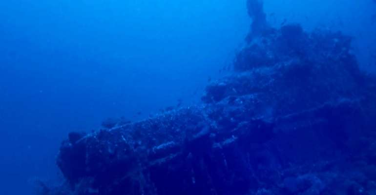 An image grab taken from a handout video from the Ras Adar diving club on October 8, 2020 shows the wreck of French submarine Ariane that was torpedoed and sunk in the Mediterranean Sea off Cap Bon in 1917 by a German submarine.  By - (CLUB DE PLONGÉE RAS ADAR/AFP)