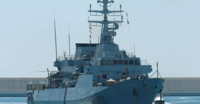 An Italian navy ship, like this one picutred in 2018, rescued 100 people it said were in imminent danger in the Mediterranean.  By PAU BARRENA (AFP/File)