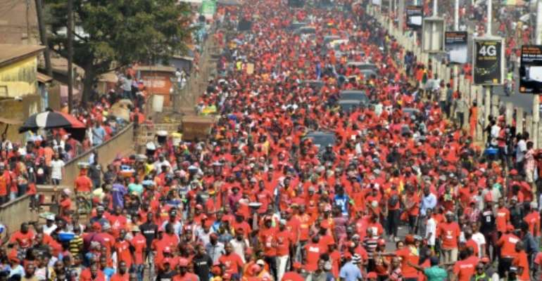 An opposition alliance has repeatedly bought thousands of people onto the streets over fears Conde will run for a third term.  By CELLOU BINANI (AFP)