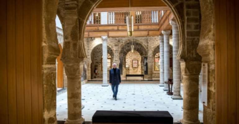 Andre Azoulay, adviser to the Moroccan king, at the Bayt Dakira (House of Memory) Jewish museum, in Morocco's Atlantic coastal city of Essaouira..  By FADEL SENNA (AFP)