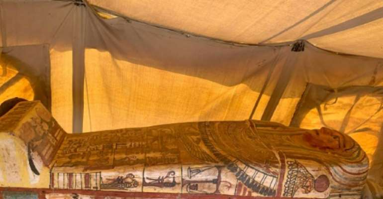 Archaeologists in Egypt found 14 coffins from around 2,500 BC, following 13 found last week, all at the desert necropolis of Saqqara.  By - (Egyptian Ministry of Antiquities/AFP)