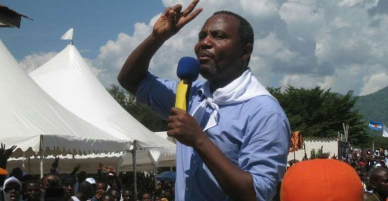 Arrest warrant: Alexis Sinduhije, pictured at a rally in Bujumbura in 2010.  By Esdras Ndikumana (AFP/File)