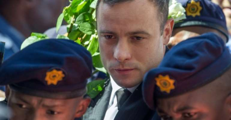 Oscar Pistorius was found guilty of murder on Thursday after South Africa's Supreme Court of Appeal threw out a manslaughter conviction for killing his girlfriend.  By Mujahid Safodien (AFP/File)