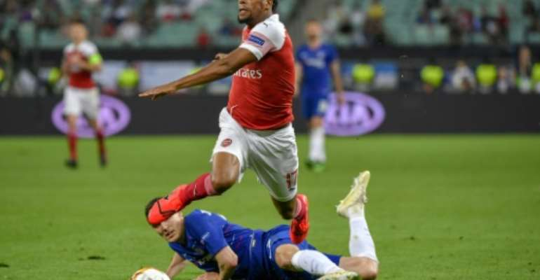 Arsenal's Nigeria forward Alex Iwobi lost to Chelsea in last month's Europa League final.  By Alexander NEMENOV (AFP/File)
