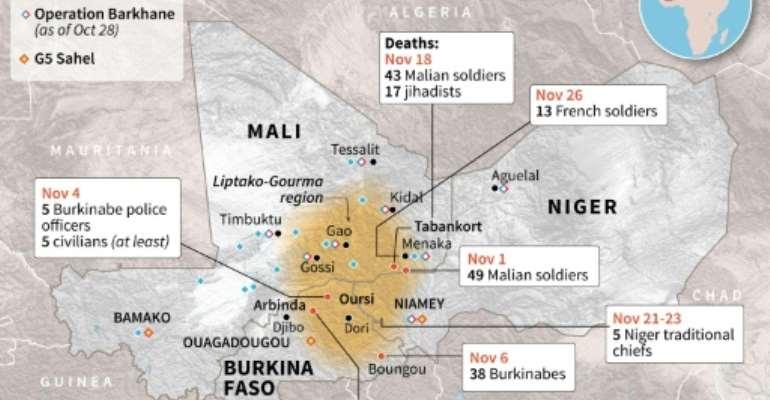 Attacks in the Sahel.  By Laurence SAUBADU (AFP)