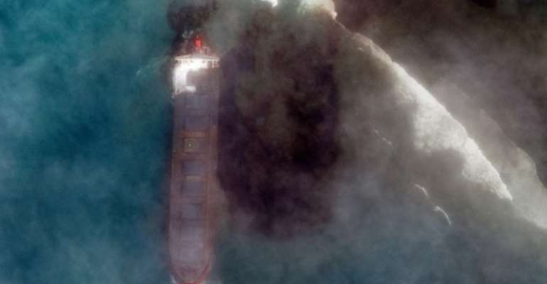 Attempts to stabilise the stricken vessel and pump 4,000 tonnes of fuel from its hold have failed.  By Handout (Satellite image ©2020 Maxar Technologies/AFP)