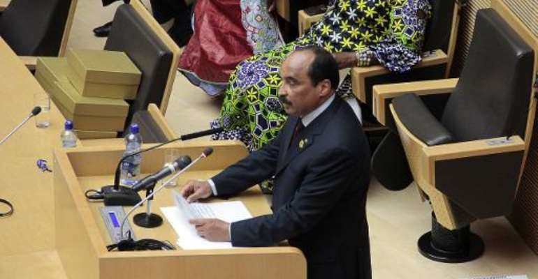 Mauritanian President Mohamed Ould Abdel Aziz delivers a speech at the 22nd African Union (AU) summit in Addis Ababa on January 31, 2014.  By Solan Gemechu (AFP)