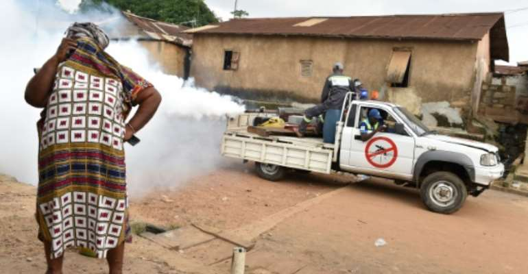 Authorities in Ivory Coast have launched a major mosquito-control campaign which includes spraying insecticides.  By ISSOUF SANOGO (AFP)
