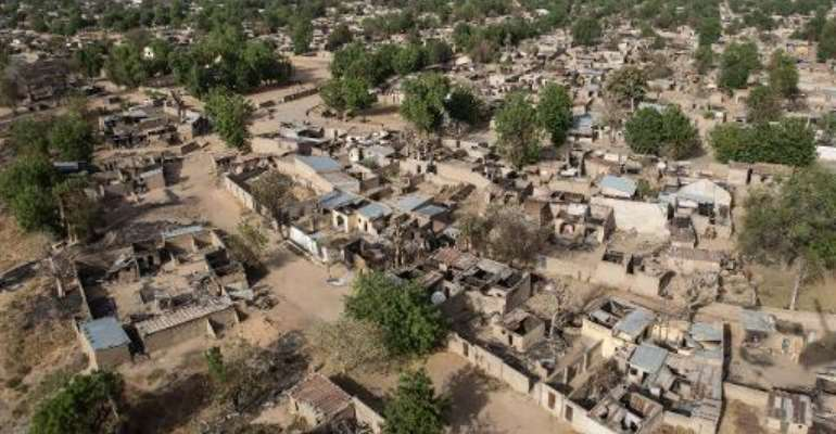 An aerial view shows the northeastern town of Bama, Nigeria on March 25, 2015.  By Nichole Sobecki (AFP)