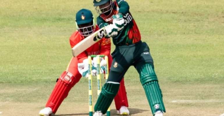 Bangladesh opener Liton Das on his way to 102 against Zimbabwe in Harare on Friday.  By Jekesai NJIKIZANA (AFP)