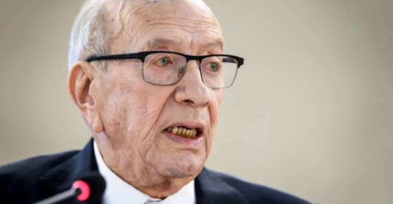 Beji Caid Essebsi, seen in this February 2019 picture, is Tunisia's first democratically elected president.  By Fabrice COFFRINI (AFP/File)