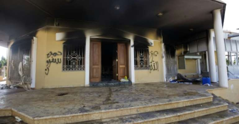 A burnt building is pictured at the US consulate compound in the eastern Libyan city of Benghazi on September 13, 2012.  By Gianluigi Guercia (AFP/File)