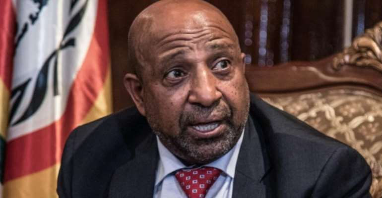 Berhanu Nega, the leader of the former armed movement Ginbot 7, returned to Ethiopia on Sunday after 11 years in exile.  By YONAS TADESSE (AFP)