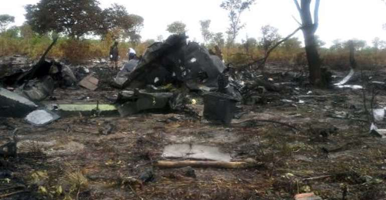 Burnt wreckage of a Mozambican Airlines plane on November 30, 2013 at the site of its crash in Namibia's Bwabwata National Park.  By - (Namibian police/AFP)