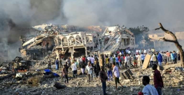 Blast: A truck bomb in Mogadishu in October 2017.  By Mohamed ABDIWAHAB (AFP)