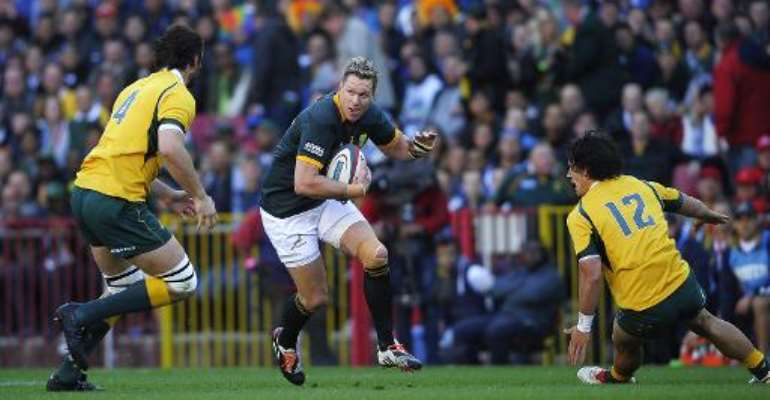 South African captain Jean de Villiers (C) suffered serious knee damage during a Test defeat in Wales last November.  By Gianluigi Guercia (AFP/File)