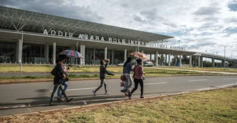 Bole International Airport in Addis Ababa, Ethiopia -- since mid-March, 2020, the UN's International Organization for Migration (IOM) has registered 2,870 Ethiopian returnees, all but 100 of whom were sent back from Saudi Arabia.  By EDUARDO SOTERAS (AFP/File)