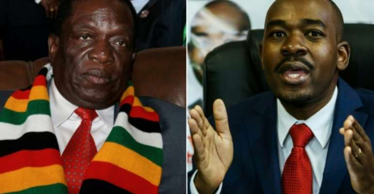 Both President Emmerson Mnangagwa, left, and opposition leader Nelson Chamisa, right, have said they are headed for victory in Zimbabwe's landmark elections.  By Ahmed OULD MOHAMED OULD ELHADJ, Jekesai NJIKIZANA (AFP/File)