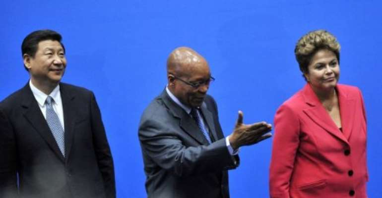 BRICS leaders, including South Africa's President Jacob Zuma, arrive in Durban on March 27, 2013.  By Alexander Joe (AFP/File)