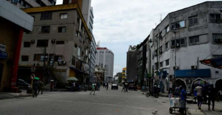 Broad Street, the home of some of Nigeria's biggest corporations, has become almost deserted.  By PIUS UTOMI EKPEI (AFP)