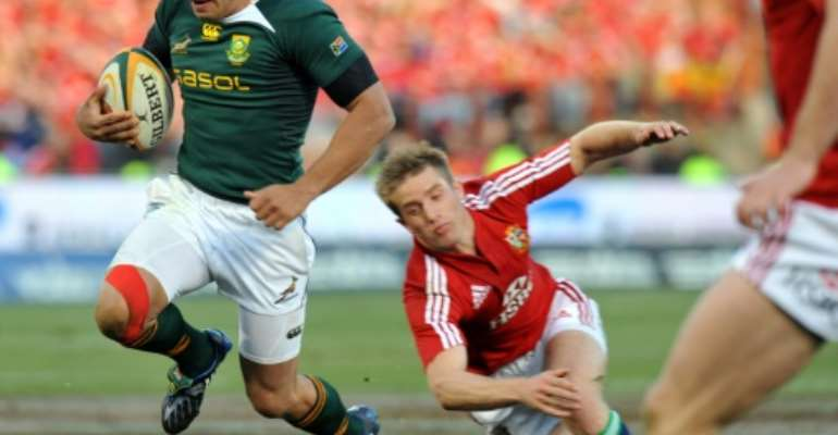Bryan Habana scored one of his 67 Springboks Test tries against the Lions in 2009.  By ALEXANDER JOE (AFP/File)