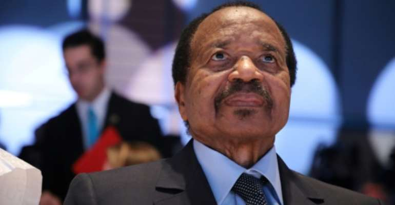 Cameroon President Paul Biya, shown here in 2019, has not addressed the nation since the first COVID-19 case was recorded a month ago.  By Ludovic MARIN (AFP/File)