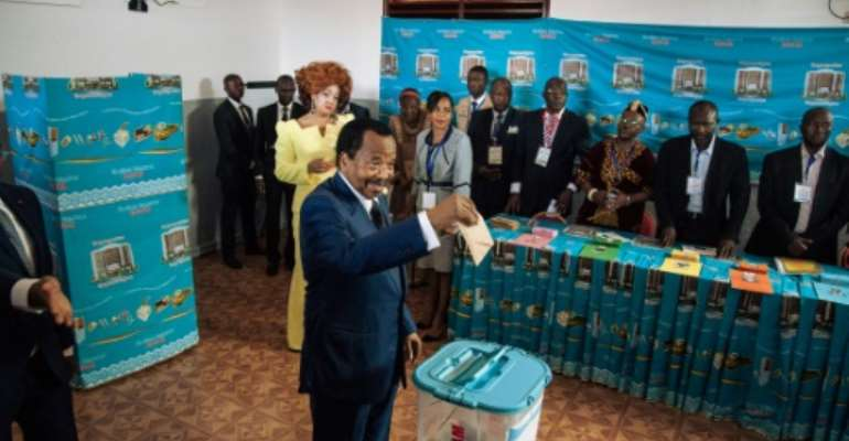 Cameroon strongman Paul Biya won a seventh term in an October 7 poll marred by allegations of widespread fraud, low voter turnout, and violence.  By ALEXIS HUGUET (AFP)